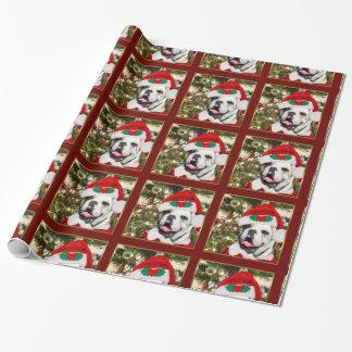Papier Cadeau Papier d'emballage cadeau de bouledogue de Noël