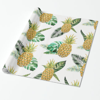 Papier Cadeau Papier d'emballage d'ananas tropical