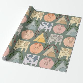 Papier Cadeau Papier d'emballage d'animal de ferme sur l'arrière