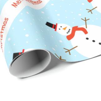 Papier Cadeau Papier d'emballage de bonhomme de neige de Noël