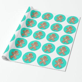 Papier Cadeau Papier d'emballage de bonhomme en pain d'épice