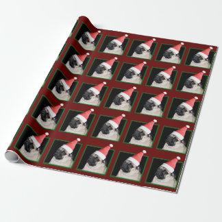 Papier Cadeau Papier d'emballage de carlin rouge de Noël