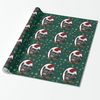 Papier Cadeau Papier d'emballage de carlin vert de Noël