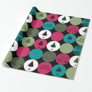 Papier Cadeau Papier d'emballage de cercles d'animaux de ParTé