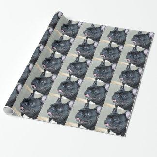 Papier Cadeau Papier d'emballage de chien de bouledogue français