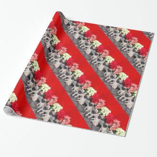 Papier Cadeau Papier d'emballage de chiens de carlin de Noël