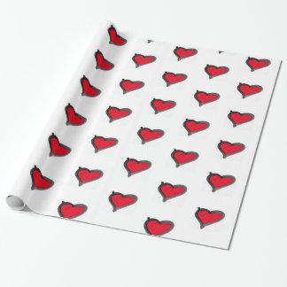Papier Cadeau papier d'emballage de coeur rouge audacieux de