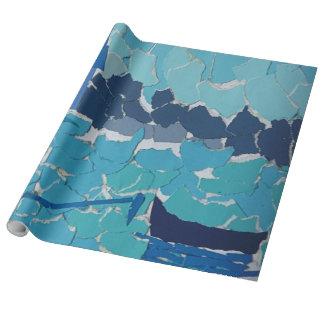 Papier Cadeau Papier d'emballage de collage bleu de bateau