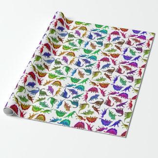Papier Cadeau Papier d'emballage de dinosaures colorés frais