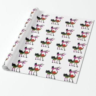 Papier Cadeau Papier d'emballage de flamant de fête de Noël