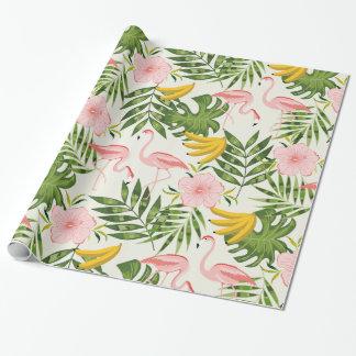 Papier Cadeau Papier d'emballage de flamant tropical d'été