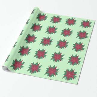 Papier Cadeau Papier d'emballage de fleur de Noël de poinsettia