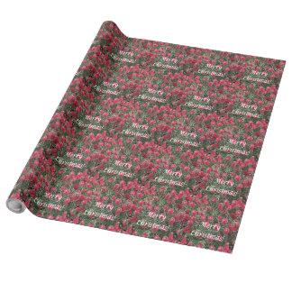 Papier Cadeau Papier d'emballage de fleurs rouges de Joyeux Noël