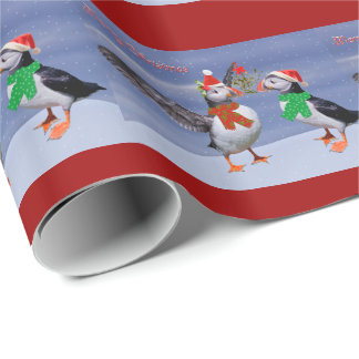 Papier Cadeau Papier d'emballage de macareux de fête - Noël