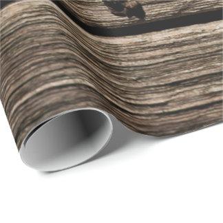 Papier Cadeau Papier d'emballage de motif rustique en bois de