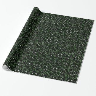 Papier Cadeau Papier d'emballage de motif vert et noir de lézard