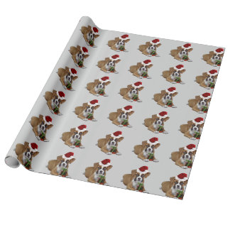 Papier Cadeau Papier d'emballage de Noël de chiot gris de boxeur