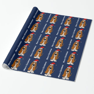 Papier Cadeau Papier d'emballage de Noël drôle de Basset Hound