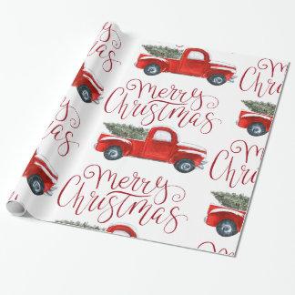 Papier Cadeau Papier d'emballage de Noël rouge vintage de camion