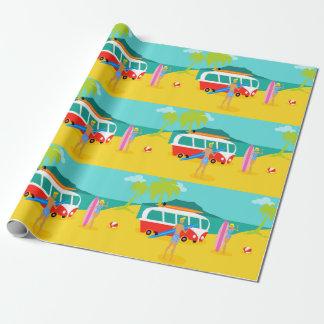 Papier Cadeau Papier d'emballage de rétros couples de surfer