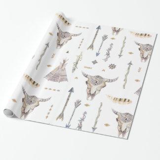 Papier Cadeau Papier d'emballage de Teepee de crâne de flèches