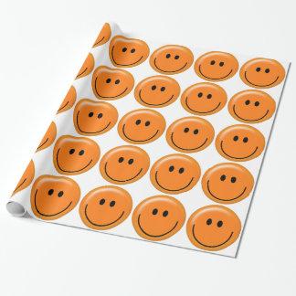 Papier Cadeau Papier d'emballage de visage souriant orange