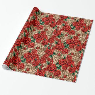 Papier Cadeau Papier d'emballage d'empreinte de léopard de roses