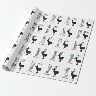 Papier Cadeau Papier d'emballage du renne   de Père Noël