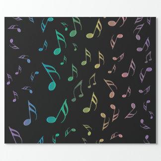 Papier Cadeau Papier d'emballage ensoleillé de notes musicales