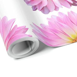 Papier Cadeau Papier d'emballage floral de dahlia rose avec des
