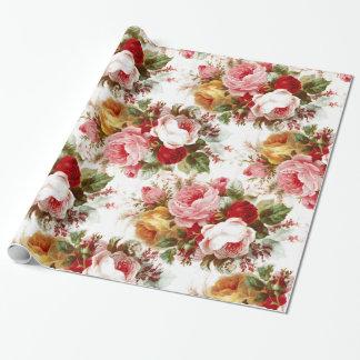 Papier Cadeau Papier d'emballage floral de mariage chic minable
