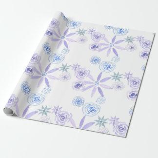 Papier Cadeau Papier d'emballage floral pourpre et bleu