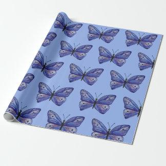 Papier Cadeau Papier d'emballage mat de papillon bleu, 30 dans x