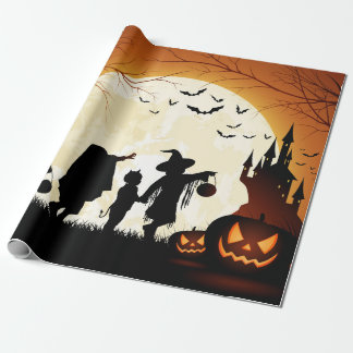 Papier Cadeau Papier d'emballage mat orienté de Halloween