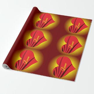 Papier Cadeau Papier d'emballage mat rougeoyant 30x15'de coeurs