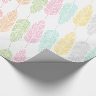 Papier Cadeau Papier d'emballage modelé par plumes en pastel