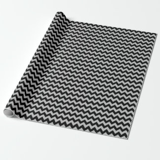Papier Cadeau Papier d'emballage moyen noir et gris de Chevron