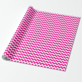 Papier Cadeau Papier d'emballage moyen rose et blanc de Chevron