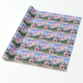 Papier Cadeau Papier d'emballage rose blanc de groupe de roses