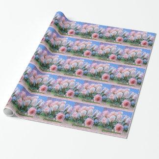 Papier Cadeau Papier d'emballage rose blanc de roses de