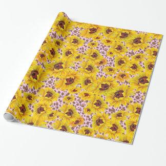 Papier Cadeau papier d'emballage rose de léopard et de tournesol