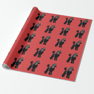 Papier Cadeau Papier d'emballage rouge noir de caniches standard