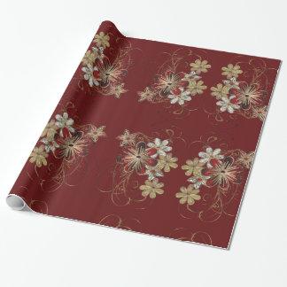 Papier Cadeau Papier floral de métier de Noël de poinsettia