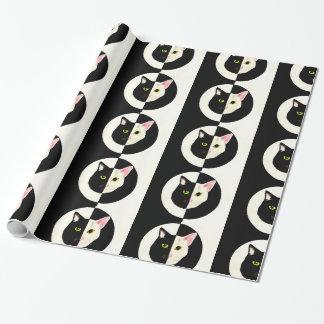 Papier Cadeau Papier noir et blanc de beau de yin chat de yang
