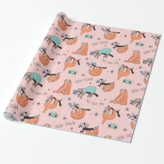 Papier Cadeau Papier rose de cadeau de paresses paresseuses