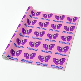 Papier Cadeau Papier rose et pourpre personnalisé de nom de