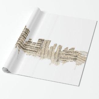 Papier Cadeau Paysage urbain de musique de feuille d'horizon de