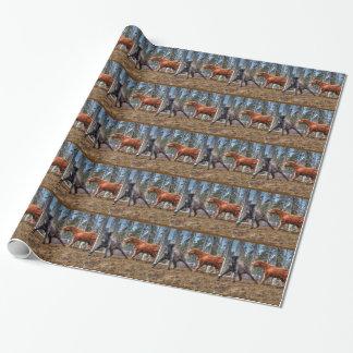 Papier Cadeau Percheron et photo brune grisâtre de Playfighting