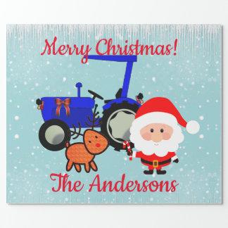 Papier Cadeau Père Noël mignon, renne et tracteur de ferme