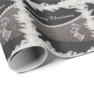 Papier Cadeau Perle gaie de damassé d'hiver de renne de Noël